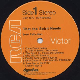 Jose Feliciano / That The Spirit Needs label