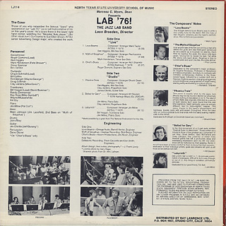 North Texas State University Lab Band / Lab '76! back