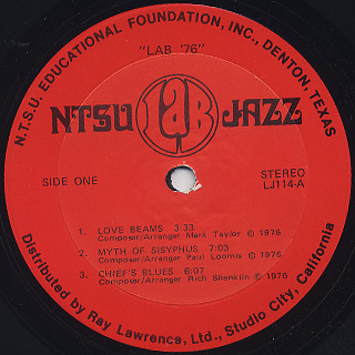 North Texas State University Lab Band / Lab '76! label