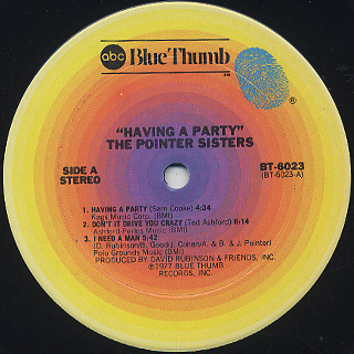 Pointer Sisters / Having A Party label