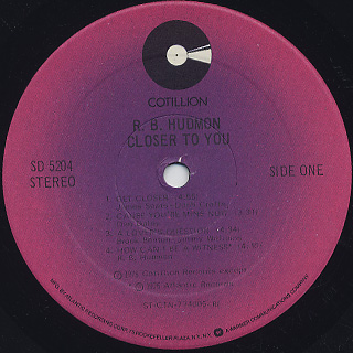 R.B. Hudmon / Closer To You label