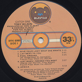 Tony Wilson / Catch One label