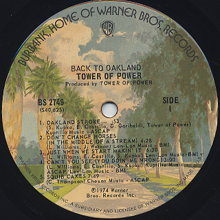 Tower Of Power / Back To Oakland label