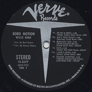 Willie Bobo / Bobo Motion label