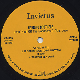 Barrino Brothers / Livin' High Off The Goodness Of Your Love label