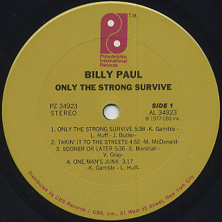Billy Paul / Only The Strong Survive label