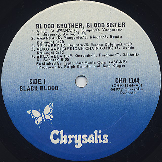 Black Blood / Blood Brother, Blood Sister label