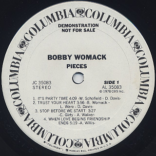 Bobby Womack / Pieces label