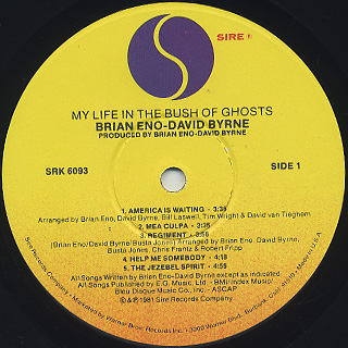 Brian Eno - David Byrne / My Life In The Bush Of Ghosts label