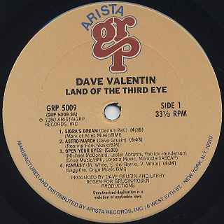 Dave Valentin / Land Of The Third Eye label