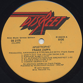 Frank Zappa / Apostrophe (') label