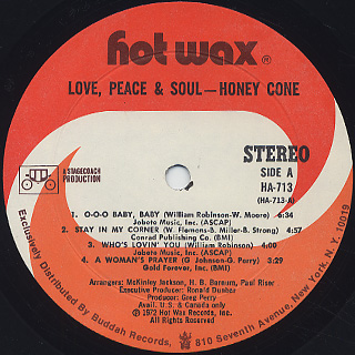 Honey Cone / Love, Peace & Soul label