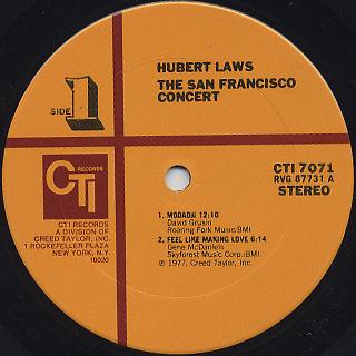 Hubert Laws / The San Francisco Concert label