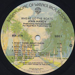John Handy / Where Go The Boats label