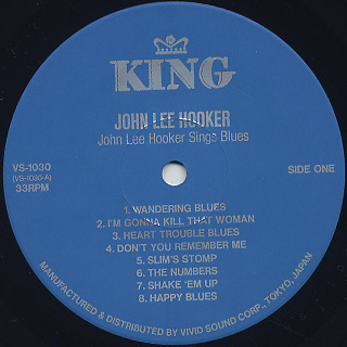 John Lee Hooker / Sings Blues label