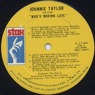 Johnnie Taylor / Who's Making Love label