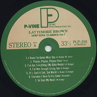 Lattimore Brown / Deep Soul Classics - Vol.1 label