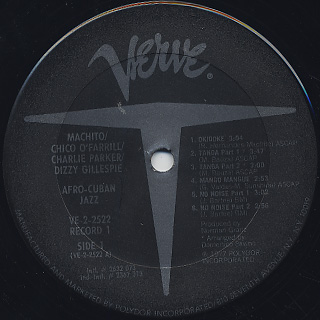 Machito,Chico O'Farrill,Charlie Parker,Dizzy Gillespie / Afro-Cuban Jazz label