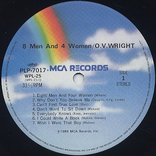 O.V. Wright / 8 Men And 4 Women label