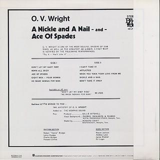 O.V. Wright / A Nickel & A Nail & The Ace Of Spades back