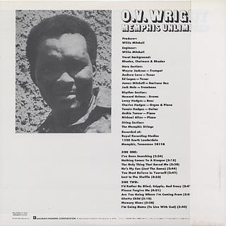 O.V. Wright / Memphis Unlimited back