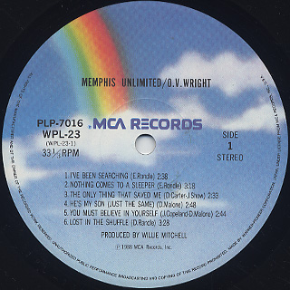 O.V. Wright / Memphis Unlimited label