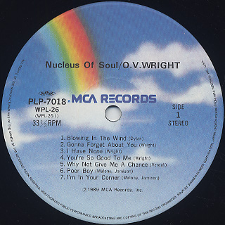 O.V. Wright / Nucleus Of Soul label