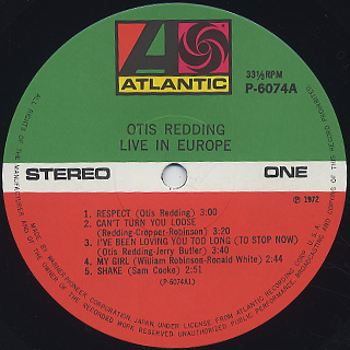 Otis Redding / Otis Redding Live In Europe label