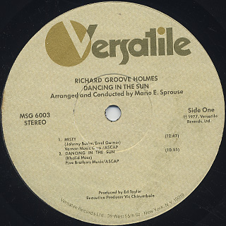 Richard Groove Holmes / Dancing In The Sun label