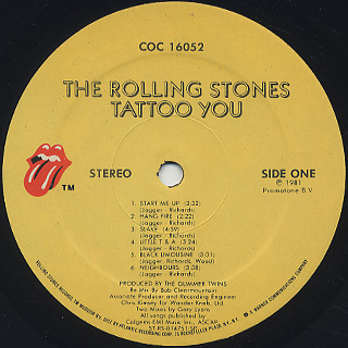 Rolling Stones / Tattoo You label