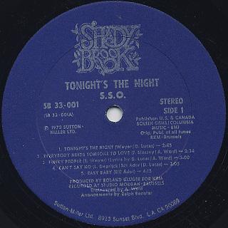 S.S.O. / Tonight's The Night label