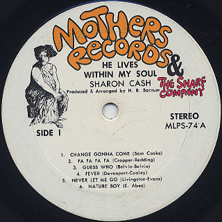 Sharon Cash / He Lives Within My Soul label