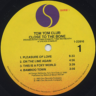 Tom Tom Club / Close To The Bone label