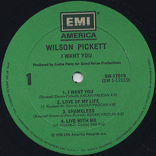 Wilson Pickett / I Want You label