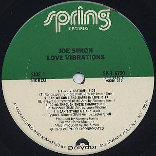 Joe Simon / Love Vibrations label