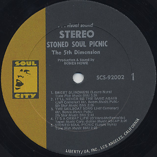 5th Dimension / Stoned Soul Picnic label