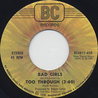 Bad Girls / Too Through back