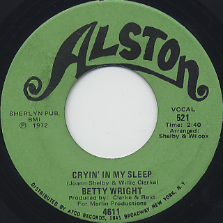 Betty Wright / Is It You Girl c/w Cryin' In My Sleep back