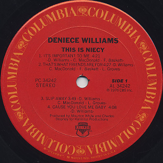 Deniece Williams / This Is Niecy label