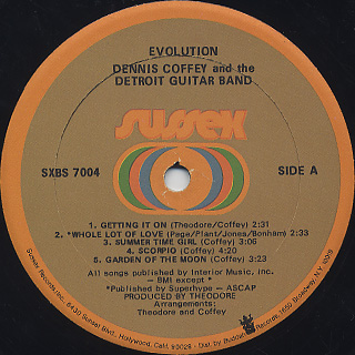 Dennis Coffey And The Detroit Guitar Band / Evolution label