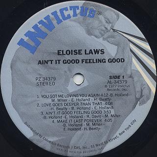 Eloise Laws / Ain't It Good Feeling Good label