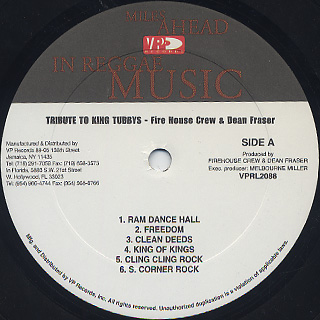 Firehouse Crew & Dean Fraser / Tribute To King Tubby's label