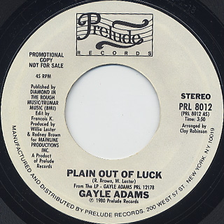 Gayle Adams / Plain Out Of Luck
