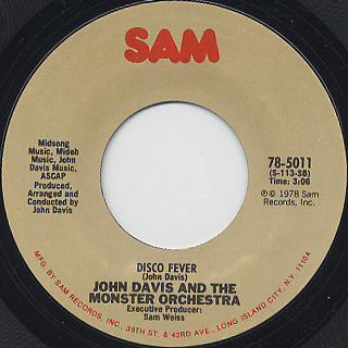 John Davis And The Monster Orchestra / Ain't That Enough For You c/w Disco Fever back