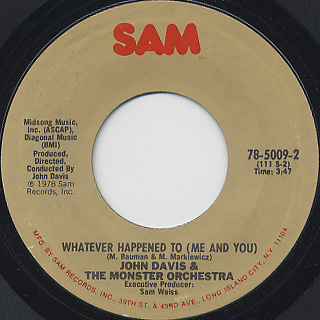 John Davis & The Monster Orchestra / Kojak Theme c/w Whatever Happened To (Me And You) back