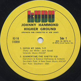 Johnny Hammond / Higher Groound label