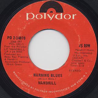 Mandrill / Mandrill c/w Warning Blues back