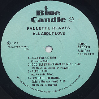 Paulette Reave / All About Love label