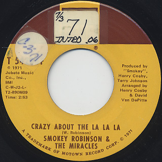 Smokey Robinson & The Miracles / Crazy About The La La La