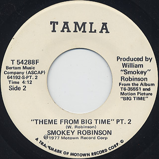 Smokey Robinson / Theme From Big Time Pt.1 c/w Pt.2 back